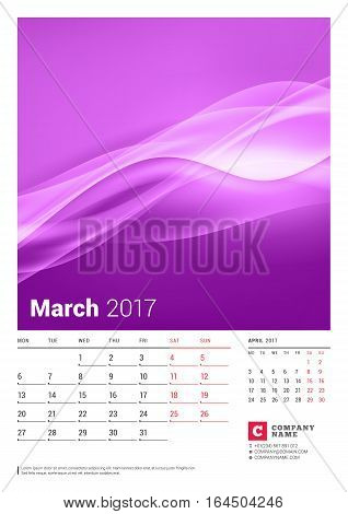 March 2017. Wall Monthly Calendar For 2017 Year. Vector Design Print Template With Place For Photo.
