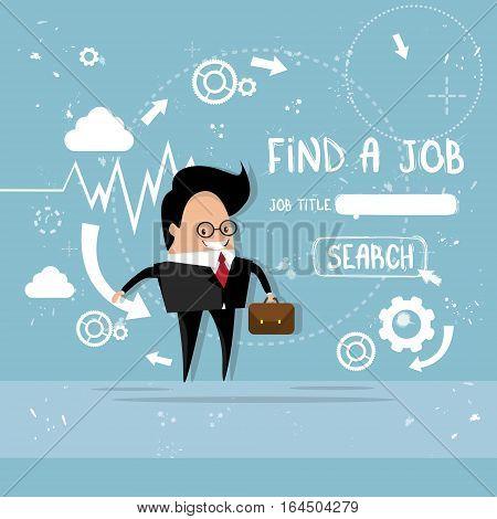 Business Man Find Job Curriculum Vitae Recruitment Candidate Position, CV Profile Flat Vector Illustration