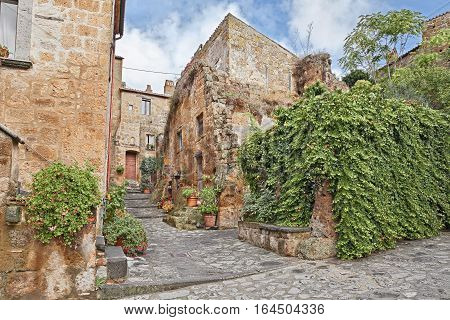 Civita di Bagnoregio, Viterbo, Lazio, Italy: the old town of the medieval village built on the tuff hill founded in Etruscan times