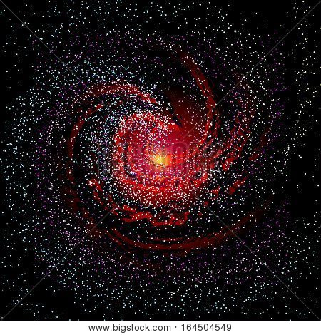 Image of galaxies nebulae cosmos and effect tunnel spiral galaxy background vector illustration