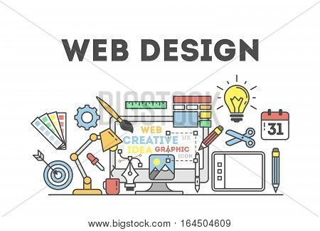 Web design illustration with icons. Concept of creating websites, creating logos and more.