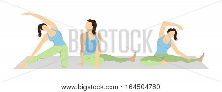 Yoga workout set on white background. Different poses and asanas. Healthy lifestyle. Body stretching.