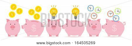 Pink piggy bank with falling golden coins, idea and time in two perspectives.