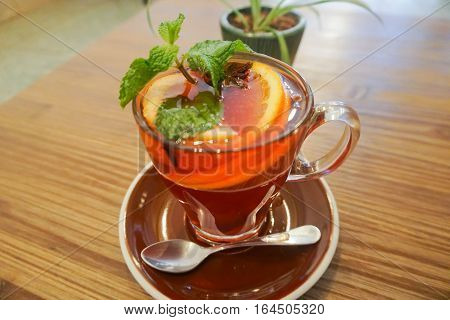Marrocan Tea with Orange and Mint. Food and Beverage