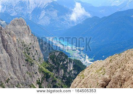 Lake Lago Di Auronzo And Sexten Dolomites Mountains In South Tyrol, Italy