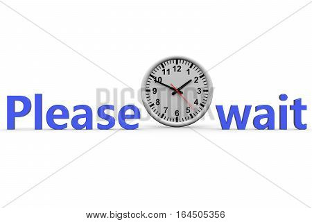 please wait on the white background 3D illustration