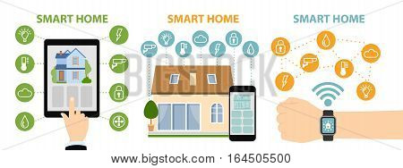 Hands hold tablet, phone, watch and control home system as energy, conditioning, temperature and more. Wireless system.