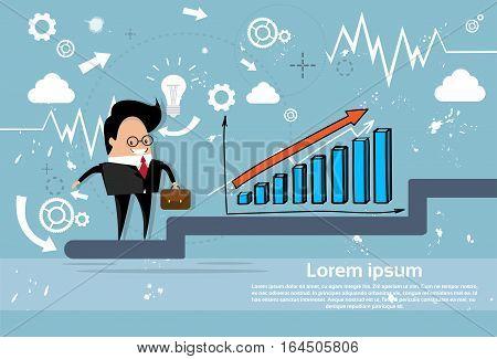 Businessman Climb Financial Bar Graph Business Man Growth Chart Flat Vector Illustration