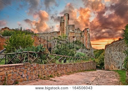 Sovana, Grosseto, Tuscany, Italy: the ruins of the ancient fortress Rocca Aldobrandesca, medieval castle of the town founded by the Etruscan