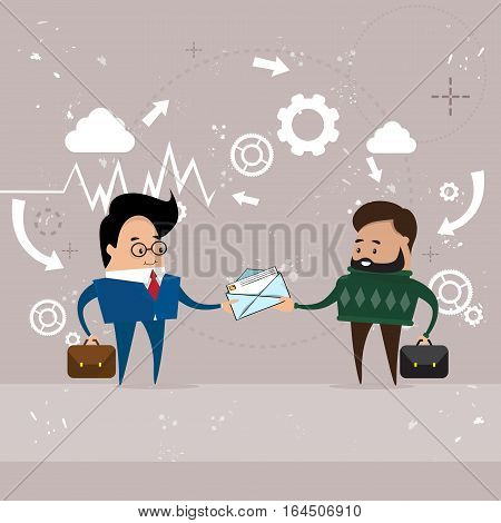 Two Business Man Give Envelope Mail Document Communication Flat Vector Illustration