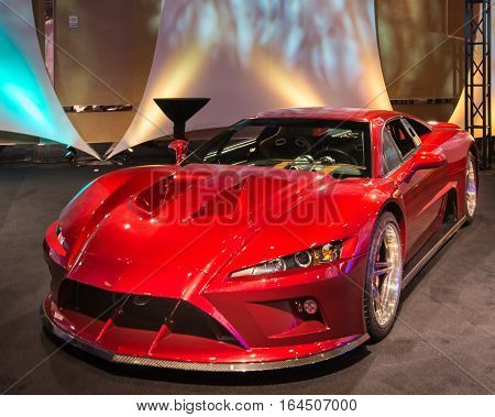DETROIT MI/USA - JANUARY 8 2017: A Falcon F7 car at The Gallery, an event sponsored by the North American International Auto Show (NAIAS) and the MGM Grand Detroit.