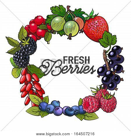 Round frame of garden berries with place for text inside, sketch style illustration isolated on white background. Blueberry, raspberry, current, cherry, plum frame, banner, poster, leaflet design