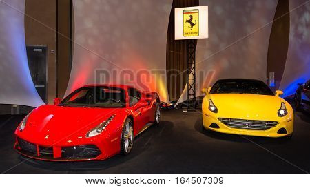 DETROIT MI/USA - JANUARY 8 2017: A Ferrari 488 and California T cars at The Gallery, an event sponsored by the North American International Auto Show (NAIAS) and the MGM Grand Detroit.
