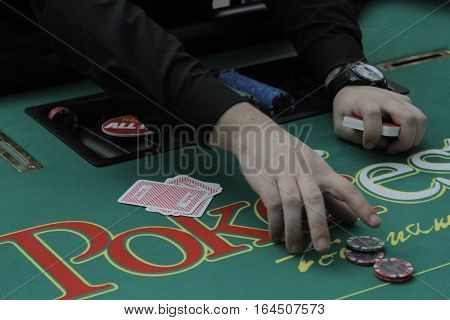 Bucharest Romania 19 December 2015: More than 1000 players are competing at the Winmasters Poker Open festival at World Trade Center in Bucharest capital of Romania for prizes in total of 500000 EUR.