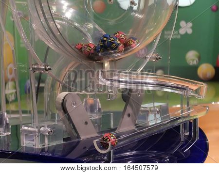 BUCHAREST ROMANIA - December 30 2015: Image of lottery balls during extraction of the winning numbers before the New Year.