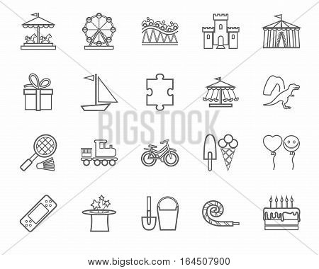 Children's games and entertainment, icons, gray, linear, vector. Vector icons of items and objects for children. Children's rest. Linear gray image on a white background.