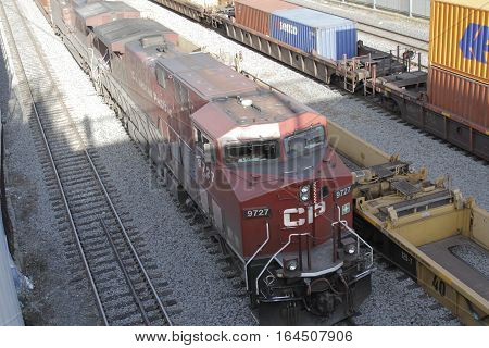 Montreal Quebec Canada 14 December 2015: Canadian Pacific Freight Train is pictured in the railyard of Port Montreal.