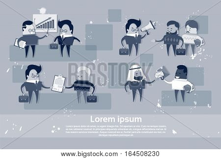 Cartoon Business People Mix Race Human Resource Communication Meeting Set Flat Vector Illustration