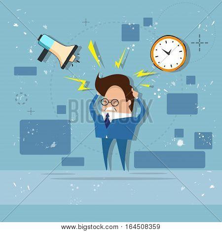 Busy Business Man Multitasking Overworked Deadline Flat Vector Illustration