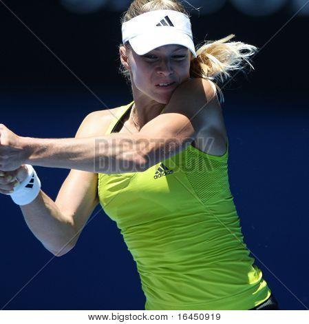 MELBOURNE, AUSTRALIA - JANUARY 26: Maria Kirilenko in her quarter final loss to Jie Zheng during the 2010 Australian Open on January 26, 2010 in Melbourne, Australia