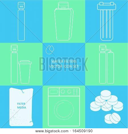 Outline tap water filter icon set. Drink and home water purification filters. Different tap  filtration systems for water treatment. Vector icon set. Point of entry water filters