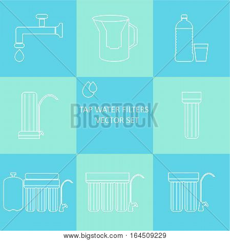Outline tap water filter icon set. Drink and home water purification filters. Different tap water filtration systems for water treatment. Vector water filter icon set. Point of use water filters