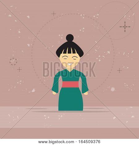 Asian Woman Asia Cartoon Character Mix Race Businesswoman Flat Vector Illustration