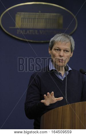 Romanian Prime Minister Dacian Ciolos holds a press conference after the first informal meeting of his cabinet at Victoria Palace in Bucharest capital of Romania Nov ember 21 2015.