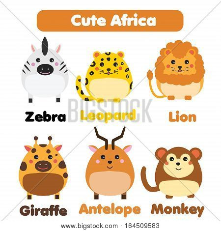 Cute african animals wildlife set. Zebra lion antelope giraffe in children style vector illustration. Stickers educational illustrations isolated design elements for kids books