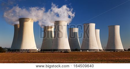 Evening colored sunset view of Nuclear power plant Jaslovske Bohunice - Slovakia