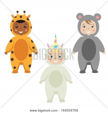 Kids party outfit. Cute smiling happy children in animal carnival costumes vector illustration. Isolated children in giraffe mose unicorn clothes