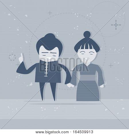 Asian Man And Woman Asia Couple Cartoon Character Mix Race Businessman Businesswoman Flat Vector Illustration