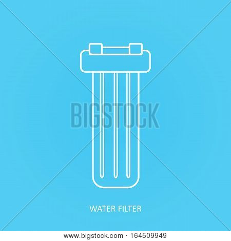 Tap water filter icon set. Drink and home water purification filters. Vector water filter icon. In line water filter