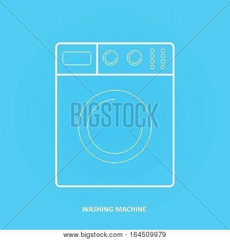 Washing machine, outline icon isolated on a blue background for your design, vector illustration. Washing machine or washer icon or sign.