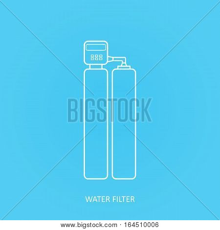 Tap water filter icon.. Drink and home water purification filters. Vector water filter icon. Duplex  water softener filter vector icon