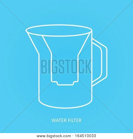 Tap water filter icon. Drink and home water purification filters. Vector water filter icon. Pitcher water filter vector icon poster