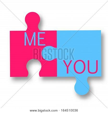 Pink and blue two puzzle pieces. You and me romantic vector illustration realtionship concept. Isolated design elements
