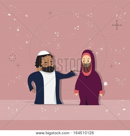 Arab Female And Male Couple Cartoon Woman Man, Muslim People Portrait Flat Vector Illustration