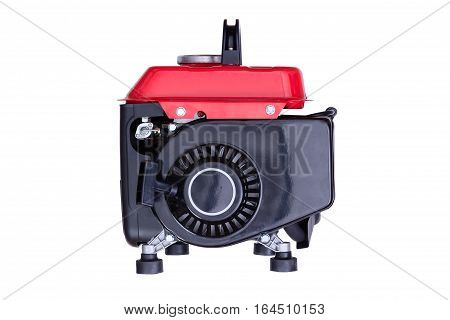 Red Gasoline Generator Viewed From Side