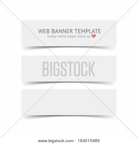 White horizontal paper banners with shadows isolated on white background. Realistic vector paper banner template forportfolio presentation, business identity, web banner, web header and footer