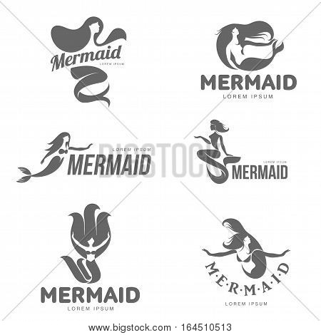 Set of stylized black and white graphic mermaid logo templates, vector illustration isolated on white background. Black and white swimming, sitting, stylized mermaid logotype, logo design