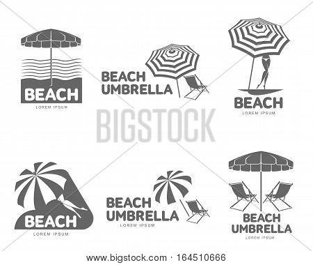 Logo templates with beach umbrella and sun bathing lounge chairs, vector illustration isolated on white background. Black and white graphic logotypes, logo templates with sunshade umbrellas