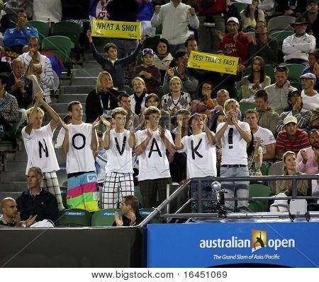 MELBOURNE, AUSTRALIA - JANUARY 27: Fans support Novak Djokovic at the 2010 Australian Open on January 27, 2010 in Melbourne, Australia