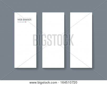 Paper card mock up with shadow isolated on dark gray background, business roll up banner. Realistic vector mockup. Template for designer portfolio presentation, business identity