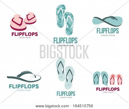 Set of stylized black and white rubber flip flops logo templates, vector illustration isolated on white background. Graphic flip flops, sandals logotype, logo design, summer vacation, holiday concept