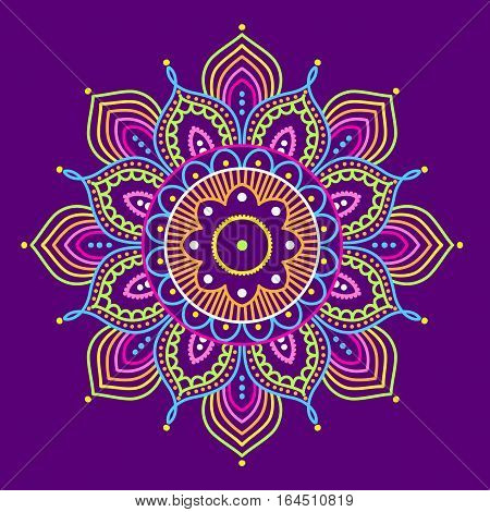 Simple colorful abstract mandala on purple background, ethno motive, vector illustration, eps 10