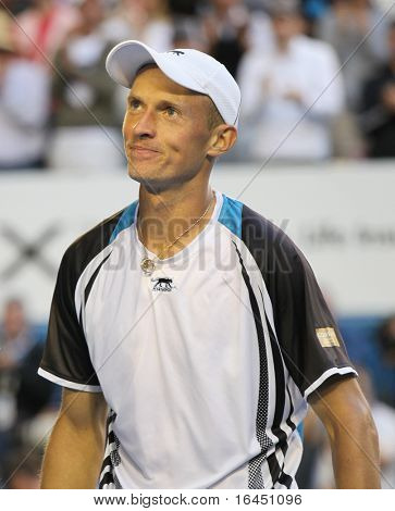 MELBOURNE - JANUARY 27: Nikolay Davydenko in the 2010 Australian Open on January 27, 2010 in Melbourne