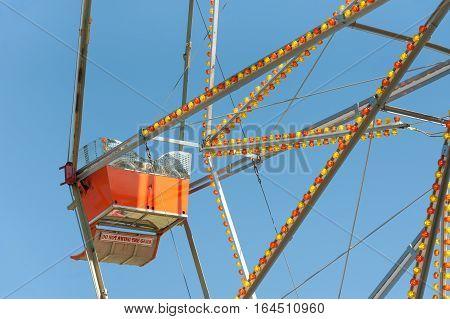 warning sign on a vintage ferris wheel gondola car