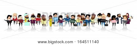 Group of Business People Cartoon Mix Race Businesspeople Set Vector Illustration