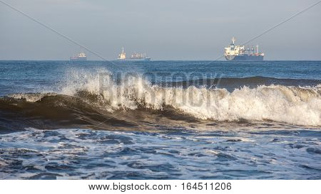 Sea Wave, Ships On The Black Sea, Poti, Georgian Coast